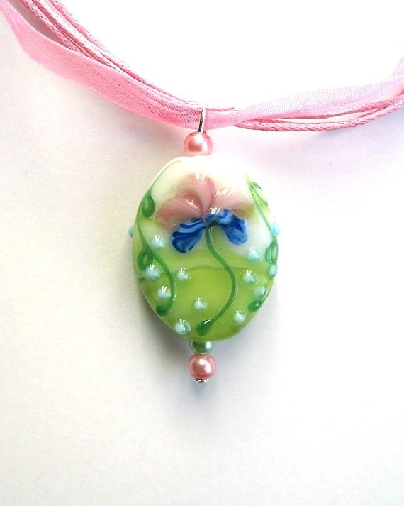 Jewelry Spring Necklace Handmade Pastel Flower Lampwork Focal Bead Pendant, Pink and Green Glass Pearl Accents On A  Pink Organza Ribbon.