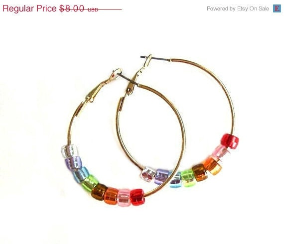 ON SALE Summer Jewelry Gold Hoop Earrings With A Rainbow of Beads, 1.5 inches (3.81 cm), Retro Hippie Chic, Hoop It Up