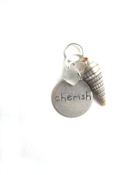 Etsy Wedding Jewelry Cherish  Word Pendant, CHERISH PURE And  SIMPLE,  Charm, Shell, Sea Glass Symbolizing Everlasting Love, Beach Wedding