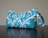 MTO Pleated Wristlet in Turquoise Damask Cotton Duck Canvas