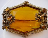 1940's Brooch Czech Amber Glass and Pearl Goldtone