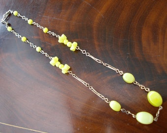 Art Deco Necklace Yellow Glass Beads 1920's or 30's