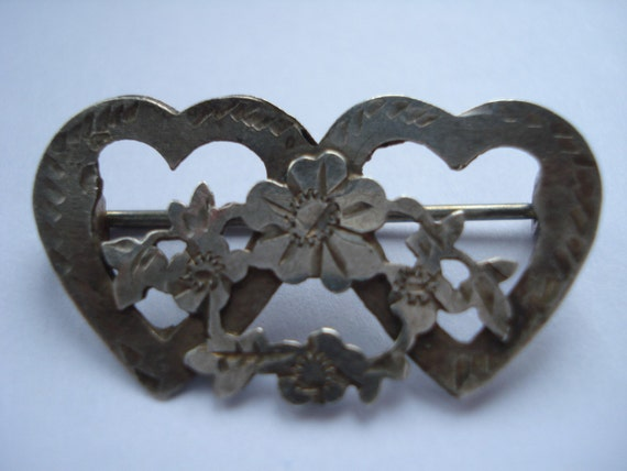 Victorian Brooch Sterling Hearts and Flowers 1890's