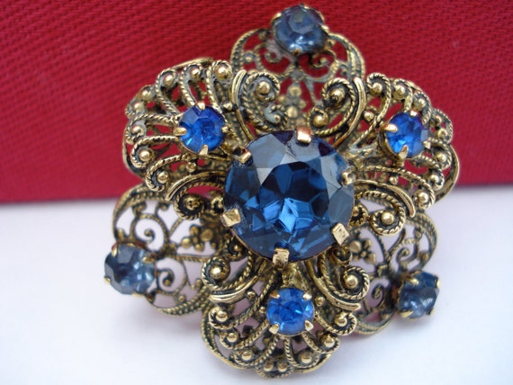 Blue Czech Brooch 1940's  Filigree