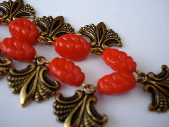 Art Deco Necklace Red Glass 1920's 1930's