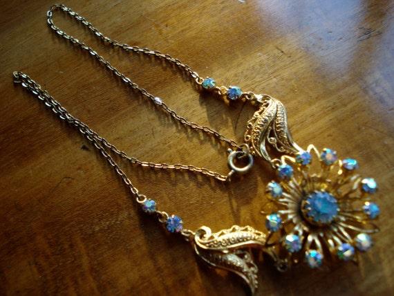 Vintage Necklace AB Blue Rhinestone 1950's 1960's