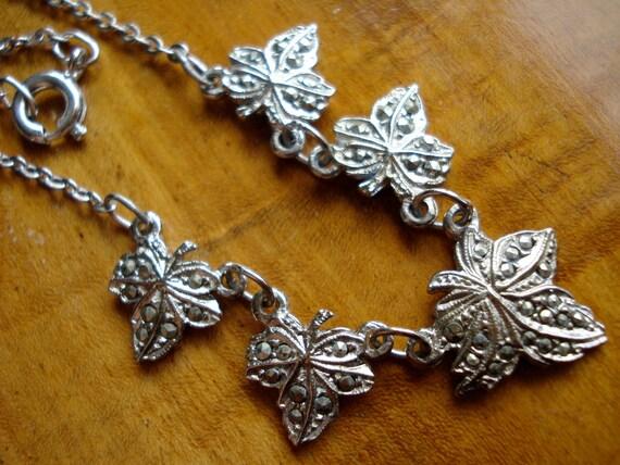 Vintage Necklace Marcasite Leaves 1950's