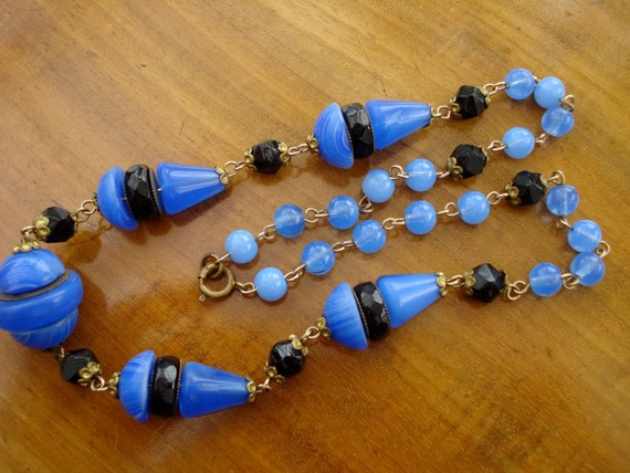 RESERVED for MAR39FINCHLEY....................Art Deco Necklace Blue Glass Beads 1920's 1930's