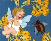Flower Fairy Card - Scared by Bug - Repro Greeting Card Marie Flatscher