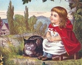 Girl w Cat in Garden Nursery Rhyme Repro Greeting Card