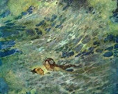Little Mermaid in the Sea Edmund Dulac Illustration Repro Greeting Card