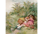 Girls Asleep in the Meadows Greeting Card - Lizzie Lawson Mack Repro