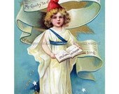 Fourth of July Greeting Card Liberty Sings - Repro Ellen Clapsaddle