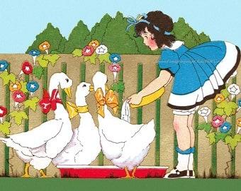 Geese Greeting Card - Girl Feeds Geese