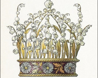 Crown Greeting Card No. 7 - Lily of the Valley Daisies - Repro Anton Seder