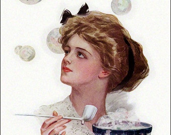 Harrison Fisher Girl Blowing Bubbles w Men Repro Greeting Card