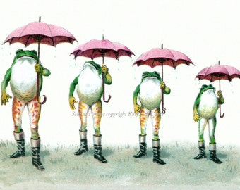Frogs with Umbrellas and Boots Repro Greeting Card from Vintage Image