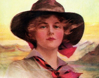 Cowgirl Girl of the Golden West Repro Greeting Card Boileau