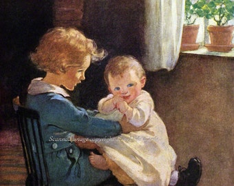 Brother with Baby Jessie Willcox Smith Repro Greeting Card