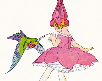 Flower Fairy and Hummingbird Repro Greeting Card Janet Laura Scott