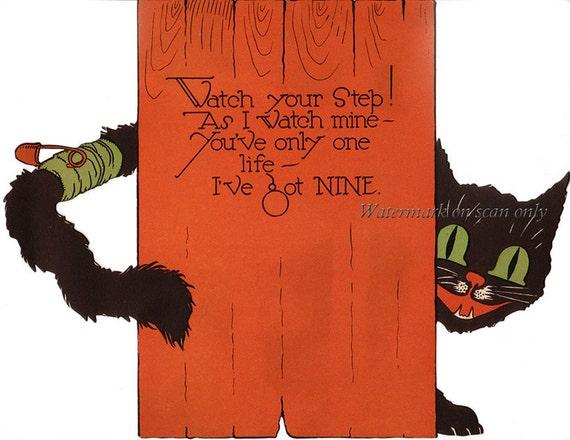 Halloween Cat Card - Black Cat Greeting Card