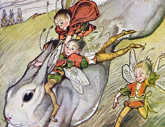 Fairies Ride Bunny Rabbit Fanny Cory Illustration Repro Greeting Card