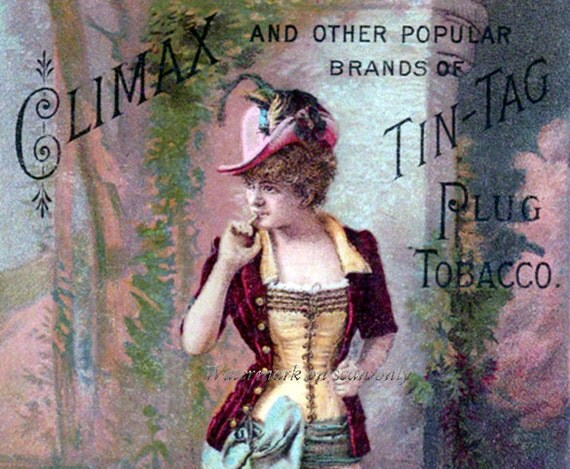 Climax Plug Tobacco Girl Repro Greeting Card Risque Advert