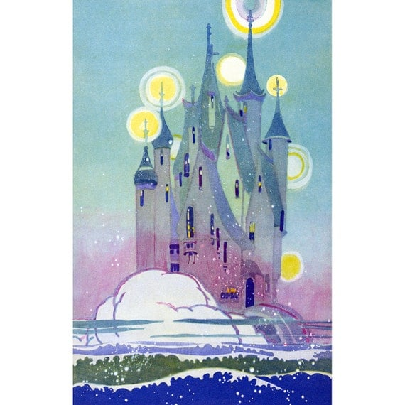 Magic Castle in the Sea Greeting Card - Repro Janet Laura Scott Land of Nod