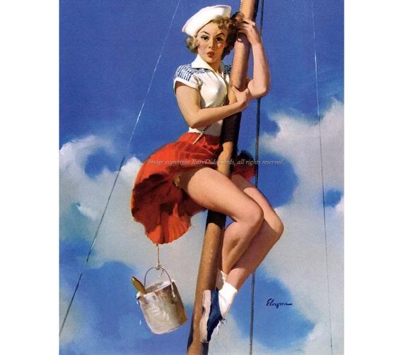 Pinup Girl Notecard - Sailor Climbs Mast Vintage Style Greeting Card - Repro Gil Elvgren