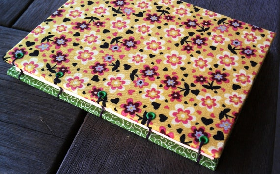 Small Journal - yellow & green bright happy flowers coptic stitch blank book