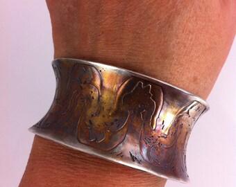 Handmade Anticlastic Silver Cuff  Corn River