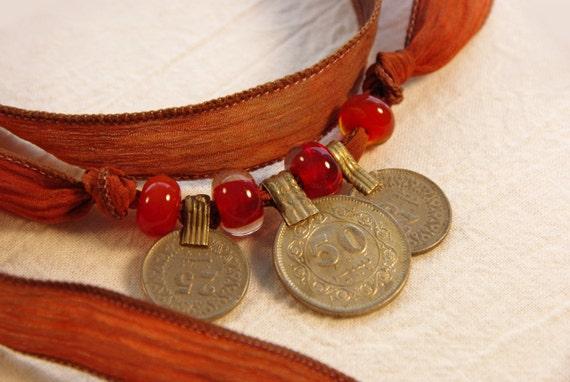RESERVED: Bohemian Kuchi Coin Silk Wrap Bracelet/Necklace
