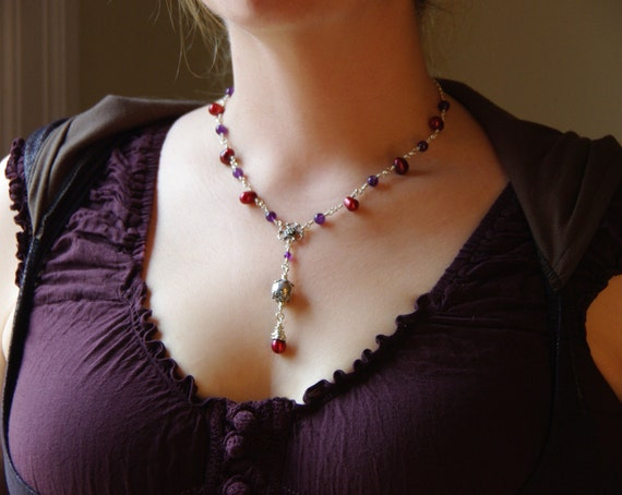 Amethyst and Red Pearl Necklace
