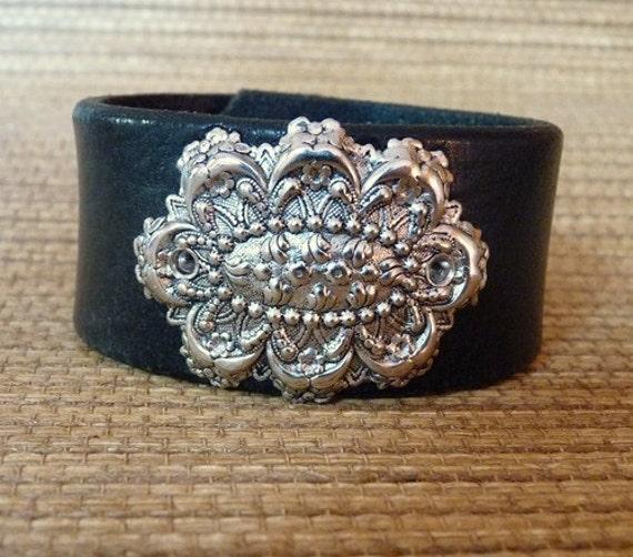 Black Leather cuff bracelet with silver Victorian rosette. Feminine