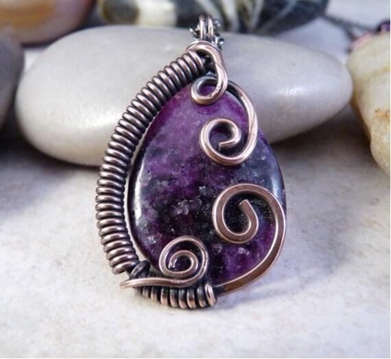 Wire Wrapped Pendant, Teardrop Purple Sugilite and Copper.