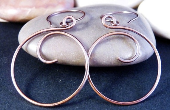 Large Copper Wire Earrings, Circle, Spiral.  Infinity Swirl