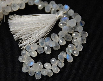 "4.5"" line of 31 7.5-11mm AA Grade RAINBOW MOONSTONE faceted briolettes 31 approx"