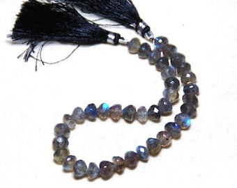 "REDUCED 9"" line of 7mm LABRADORITE faceted gemstone beads with a great blue sheen"