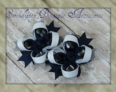 Set of Two Grey Navy and White Mini Stacked Hair Bows Made In Dallas Cowboys Colors