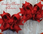 Red Mini Boutique Bows Set of Two Great for any Christmas or Valentines Day  Outfit