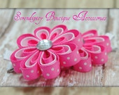 Hot Pink with White Polka Dots and White Mini Ribbon Flowers With A Jewel Center Set of Two - Great For Pig Tails
