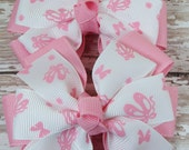 Set of 2 Pink and White Ballet Slippers Stacked Pinwheel Hair Bows - Serendipityboutique1