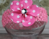 Hot Pink with White Polka Dots Petal Flower Girls Hair Bow Great for Spring and Easter