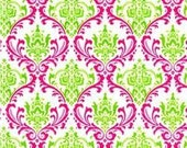 Candy Pink/Chartreuse Damask Home Decor Fabric