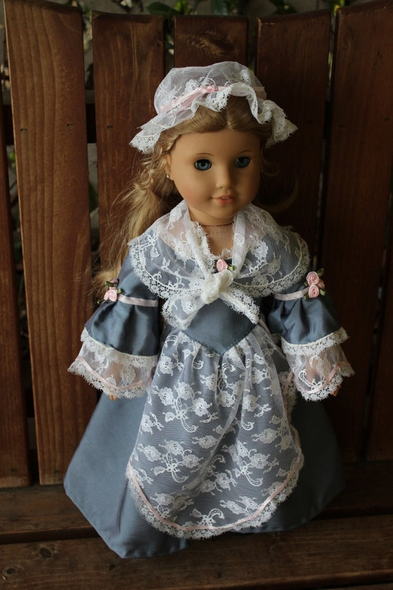 Elizabeth's colonial tea dress cap and shawl for 18in American girl dolls