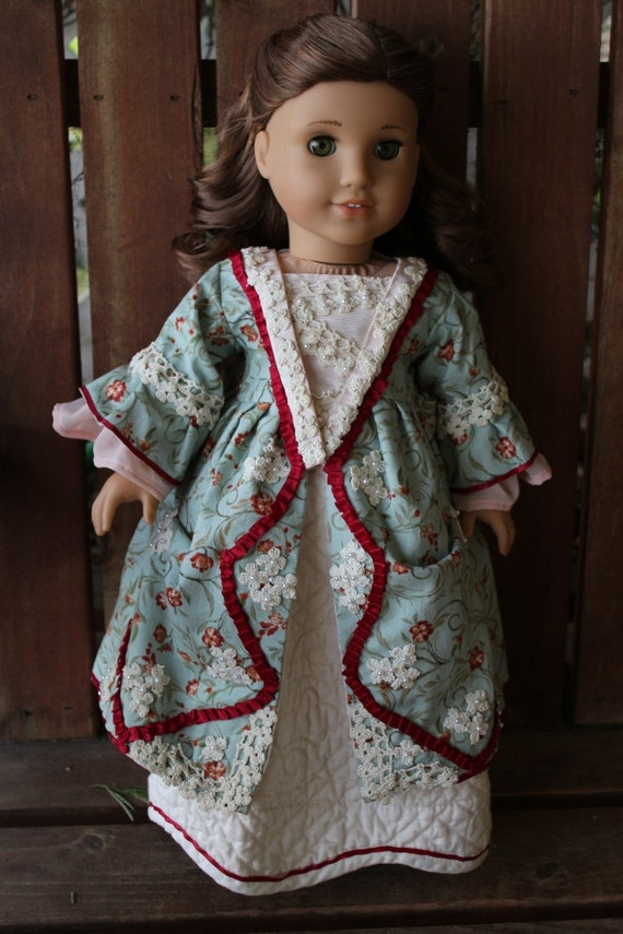 felicity's 2 piece 18th century open robe dress with quilted under skirt for 18in American girl dolls