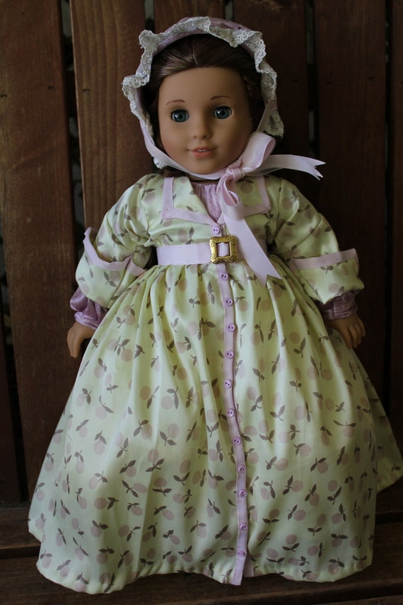 1860's robe style day dress, 4 piece set for 18in American girl dolls (Cecile, Marie grace)