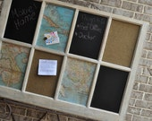Hand Painted Message Board Frame in Salvaged, Distressed Old Window with Cork, Chalk, and Magnetic Boards