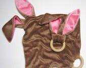 älskar baby OBV Brown & Pink Bunny Teether and Lovie Gift Set