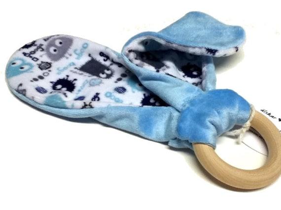Alskar Miniz Organic OBV Blue Ooga Puppy Ear Wood Ring Teething Lovie with Removable Ring